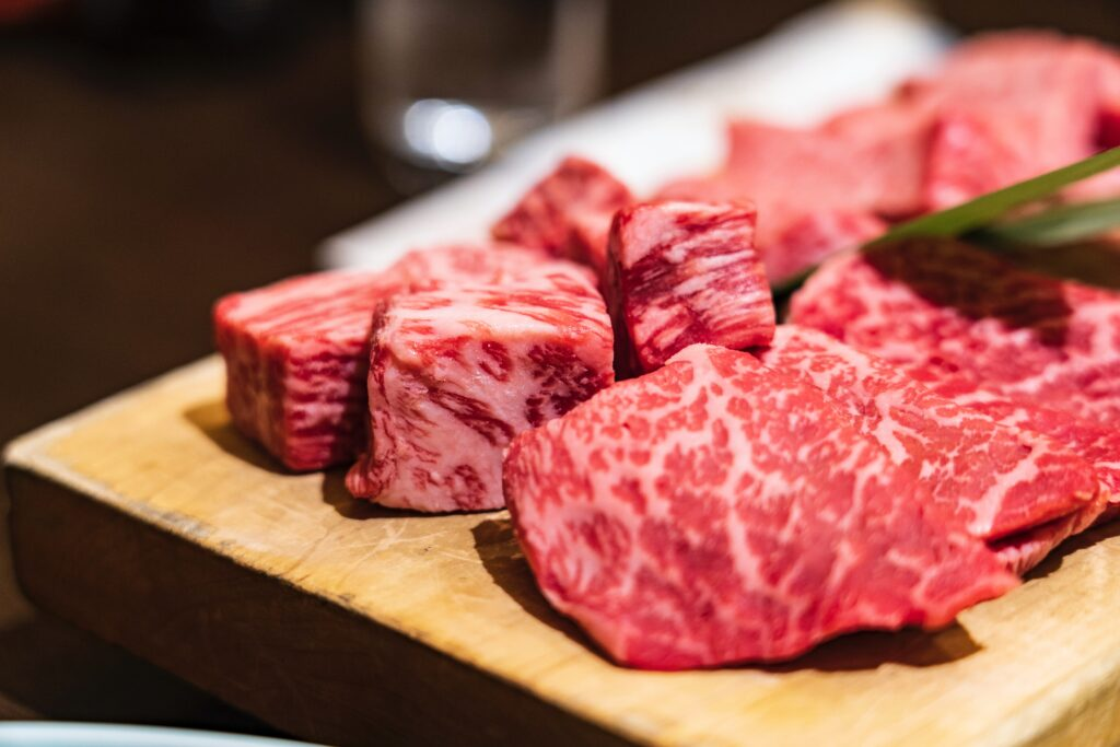 Wagyu beef vs normal beef. This marbling is only there in wagyu steaks