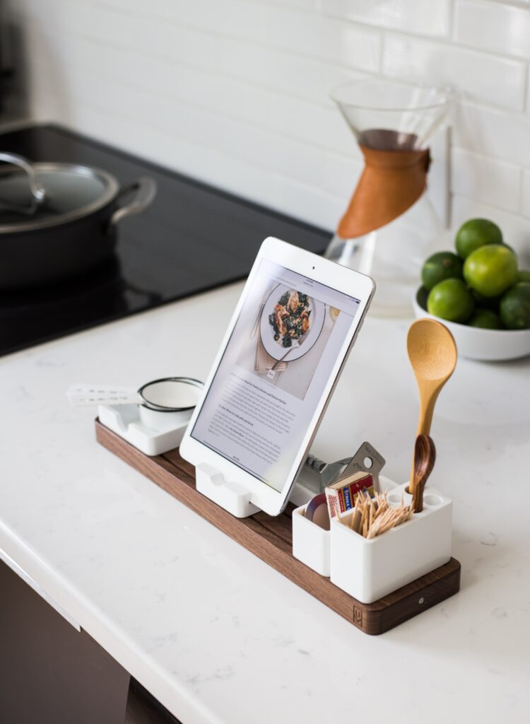 Best Sous Vide Cookbook displayed on a tablet on the countertop