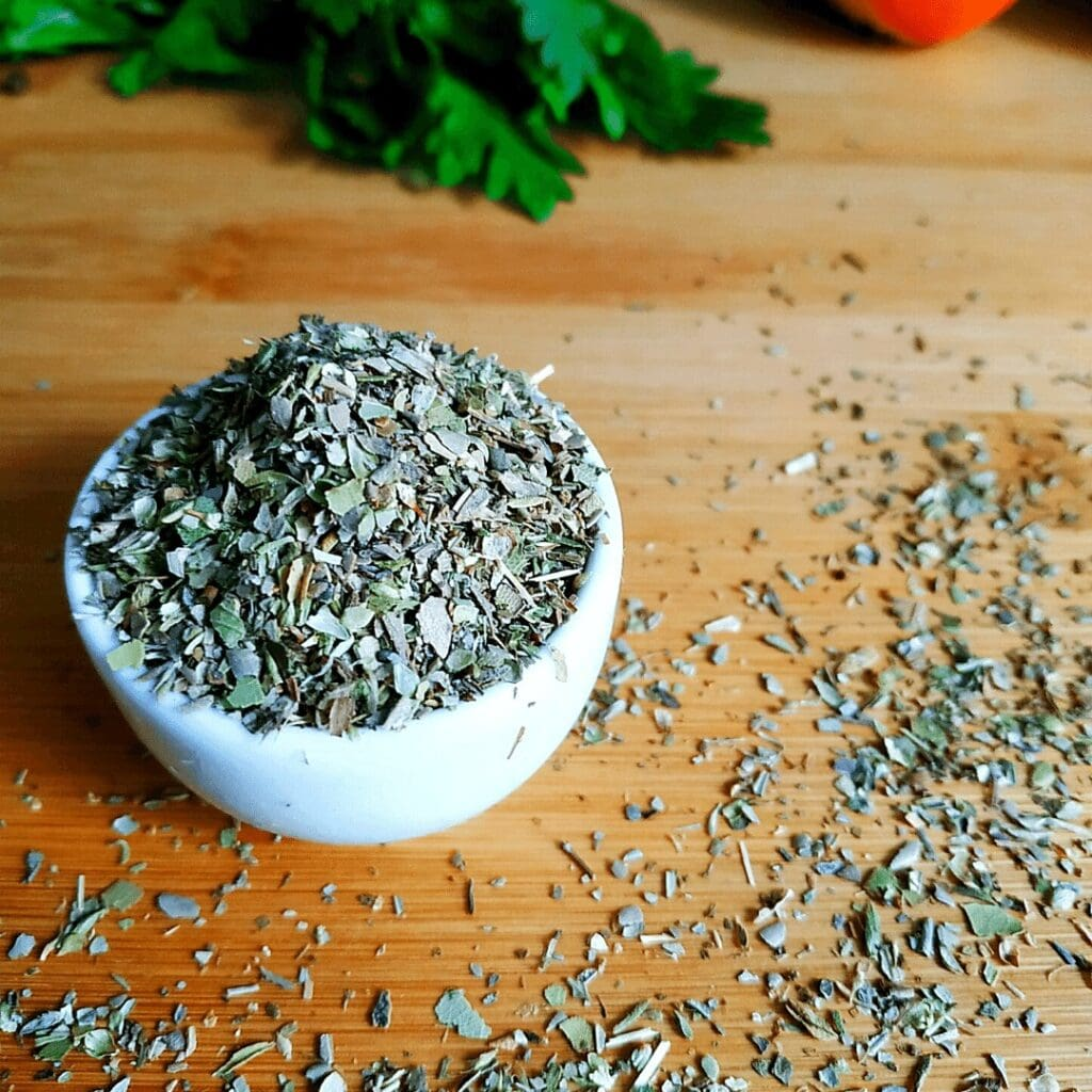 Dried Oregano withstands cooking very well, won't lose its flavor