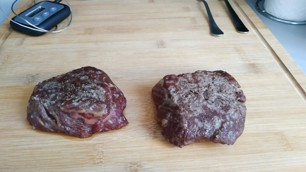 After roasting filet mignon steaks the meat looks dull and lifeless. Reverse searing the filet mignons gives them that nice golden brown color you should aim for