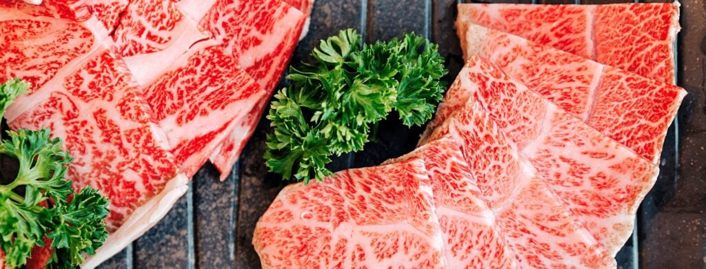 Wagyu slices in the article about the taste of Wagyu steaks